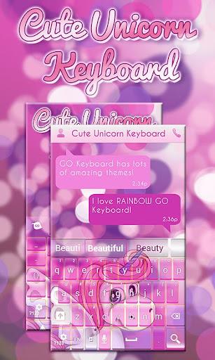 かわいいピンクのユニコーンのキーボード