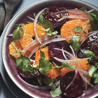 Beet and Tangerine Salad with Cranberry Dressing.