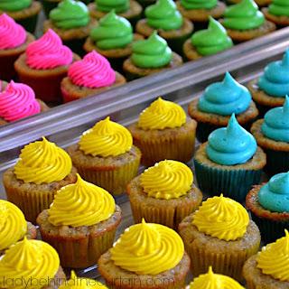 Colorful Mini Hummingbird Cupcakes