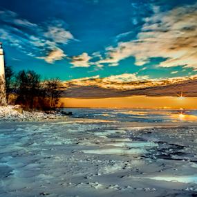 Blazing Dawn by Pat Eisenberger - Digital Art Places ( michigan, winter, dawn, ice, lighthouse, sunrise, aux, frozen, barques, pointe,  )