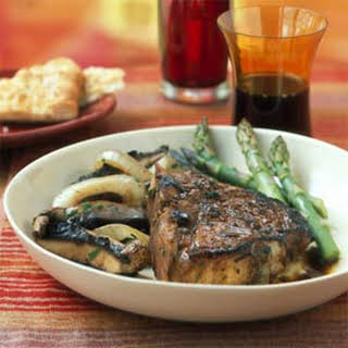 Veal Chops with Sage-Balsamic Sauce and Warm Mushroom Salad.