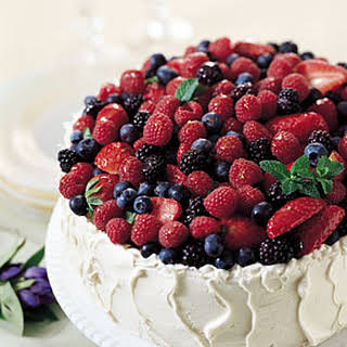 Mixed-Berry Chiffon Cake with Almond Cream Cheese Frosting.
