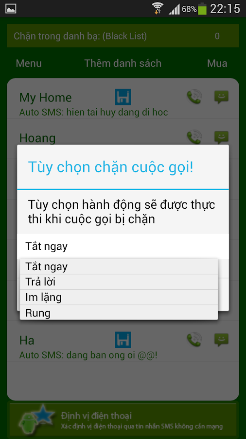 Chan cuoc goi va SMS - screenshot