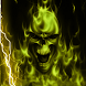 Yellow Glowing Lightning Skull