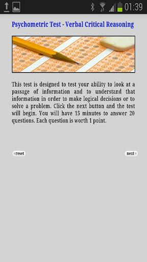 Psychometric Test Verbal Reas
