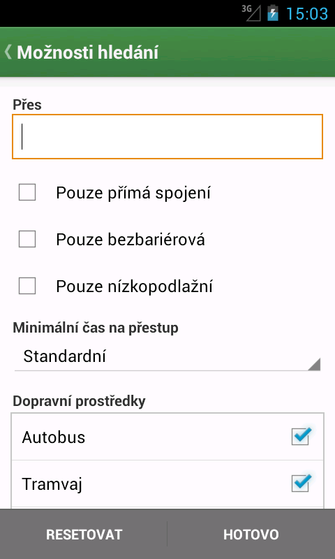 Pubtran (Czech public transit) - screenshot