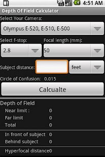 Depth Of Field Calculator - screenshot thumbnail