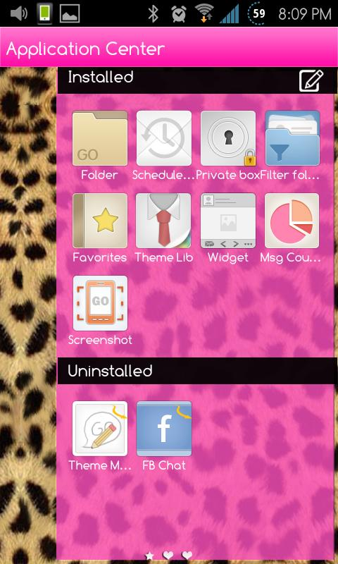 Go SMS Themes: Pink Cheetah - screenshot