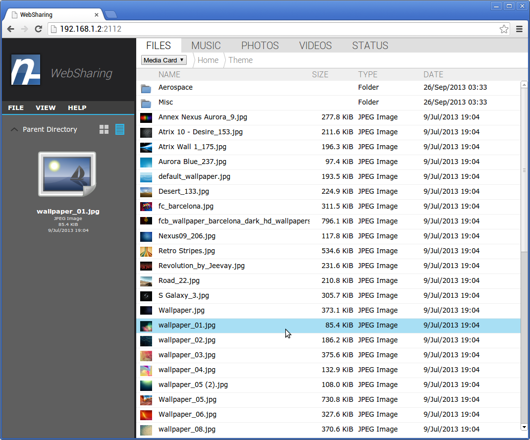 WebSharingLite (File Manager) - screenshot