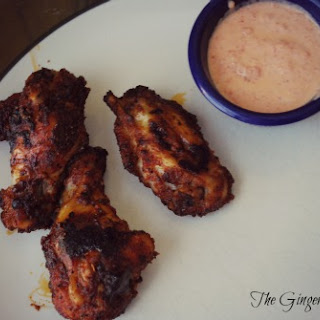 Brown Sugar Baked Wings with Roasted Red Pepper Sauce.