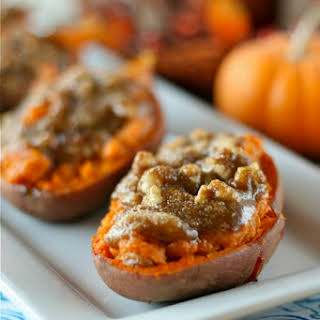Twice Baked Sweet Potatoes with Walnut Streusel.