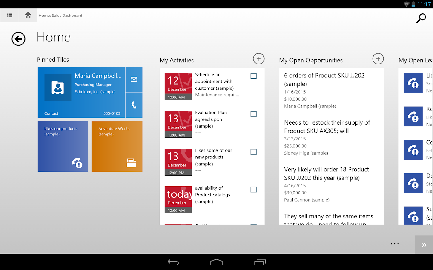 Dynamics CRM for tablets- screenshot