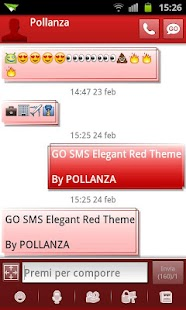 GO SMS Elegant Red - screenshot thumbnail