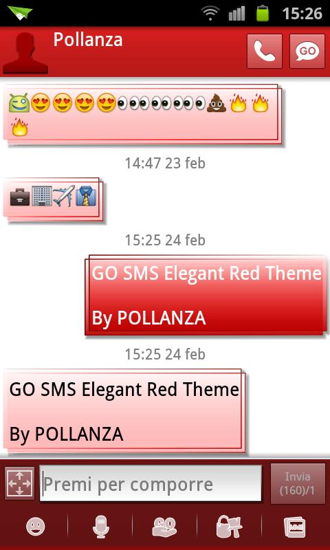 GO SMS Elegant Red - screenshot