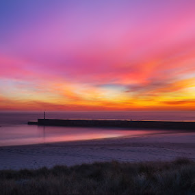 Burning  by Ricardo  Guimaraes - Landscapes Sunsets & Sunrises ( sand, beaches, peaceful, smooth, nature, color, sunset, quiet, nightfall, portugal, landscape, wall,  )