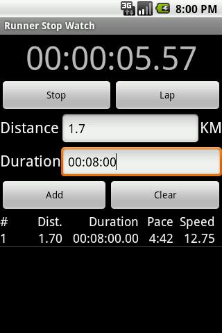 Runner Stop Watch - screenshot