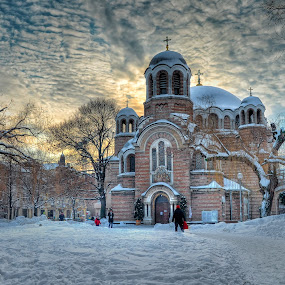 Sveti Sedmochislenitsi church by Anton Donev - Buildings & Architecture Places of Worship ( famous, old, christianity, dome, architecture, saint sedmochislenitsi, religion, sky, locations, buildings, bulgaria, clouds, church, orthodox, traditional, places, history, winter, european, cities, blue, trees, day, sofia, culture )