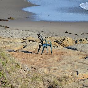 Solitude by Ed Hanson - Landscapes Beaches ( sand, chair, ocean, beach, rocks )