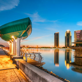 Green Boat Roof by Fadly Hj Halim - City,  Street & Park  City Parks ( water, building, reflection, structure, june, putrajaya, malaysia, dri, blue, sunset, dam, fadlyhalim, photoshop )