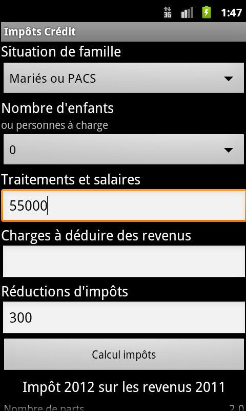 Simulation Impôts et Crédit- screenshot