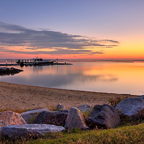 The sunset over the marina by Nicola Ibba - Landscapes Sunsets & Sunrises ( red, hdr, sunset, williamsburg, virginia, beach, marina, boat, rocks, river )