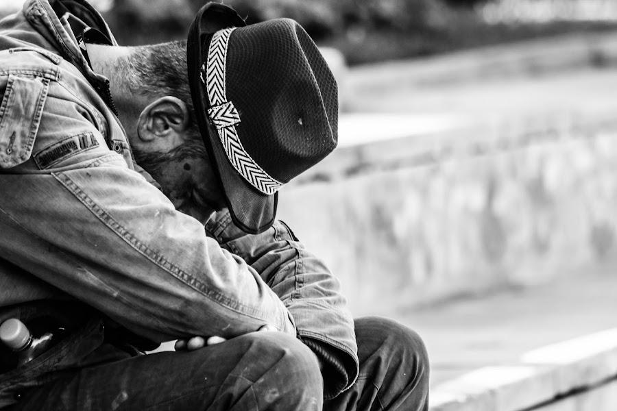 Sadness by Cosmin Lita - People Street & Candids ( black and white, sadness, people, man, street photography,  )
