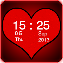 Red Heart Clock Widget icon
