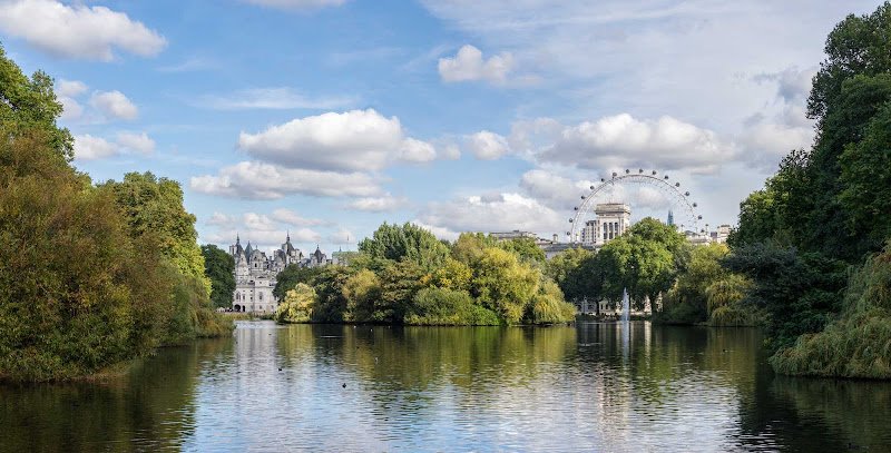 View of St. James's Park Lake in London taken from the Blue Bridge.