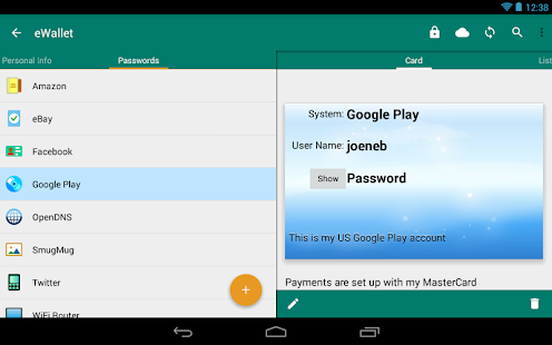 eWallet - Password Manager - screenshot thumbnail