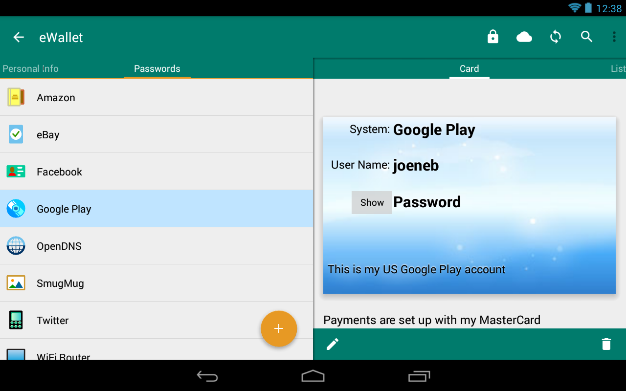 eWallet - Password Manager- screenshot