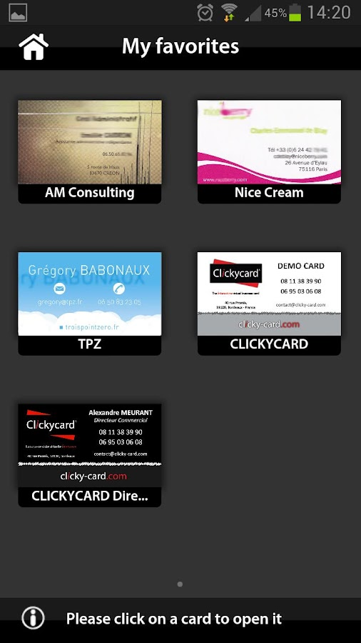 ClickyCard - screenshot