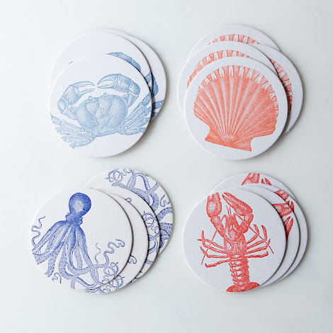 Sea Letterpress Coasters (Set of 16)