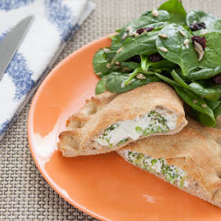 Broccoli & Ricotta Calzones with Spinach Salad.
