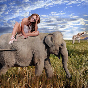 Migration by Joan Blease - Digital Art People ( fantasy, sadness, elephant, woman, mood, emotion )