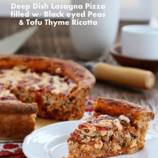 Black Eyed Peas, Tofu Thyme Ricotta, Deep Dish Pizza Vegan