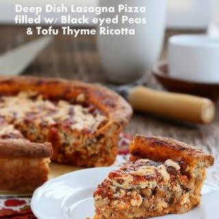 Black Eyed Peas, Tofu Thyme Ricotta, Deep Dish Pizza Vegan.