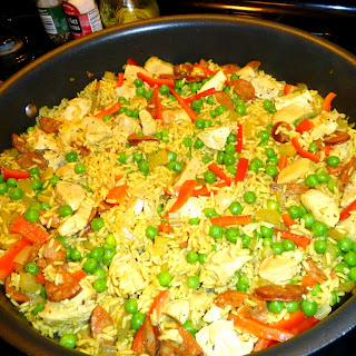 """""""Paella-style"""" Chicken and Rice."""