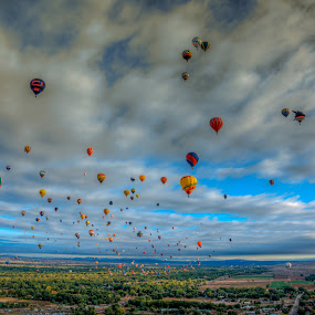 Flying High Over the ABQ by Beau Rogers - Landscapes Travel ( balloon fiesta, albuquerquw, sky, color, hot air balloons, new mexico )