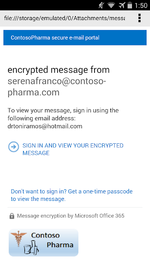3 O365 Message Encryption Viewer App screenshot