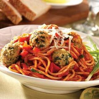 Baked Turkey Meatballs and Garden Spaghetti.
