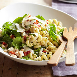 Greek Spinach-Pasta Salad with Feta and Beans.