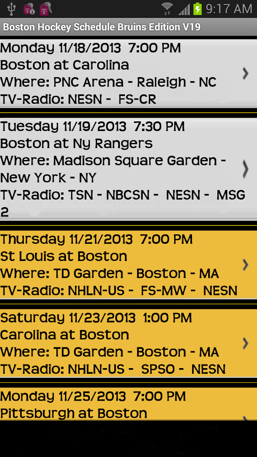 Schedule Boston Bruins Fans - screenshot