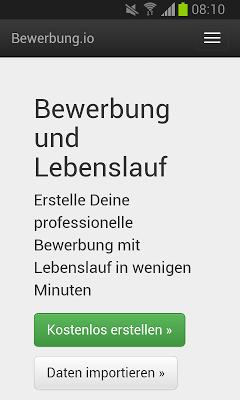 Bewerbung und Lebenslauf - screenshot