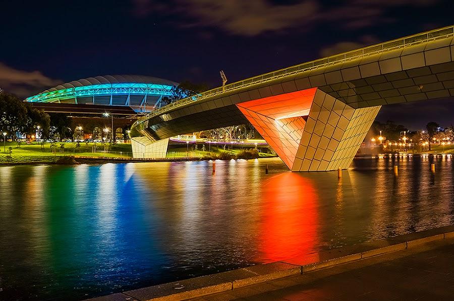 Adelaide - new bridge overTorrens River  by Zdenka Rosecka - City,  Street & Park  Night