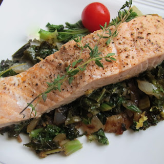 Salmon on Kale with Lemon and Thyme.