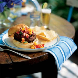 Jamaican Jerk Turkey Burgers with Papaya-Mango Salsa