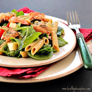 Pesto Pasta Salad with Grilled Salmon.