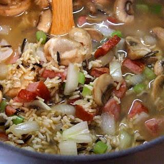 Wild Rice, Mushroom and Sausage Soup.