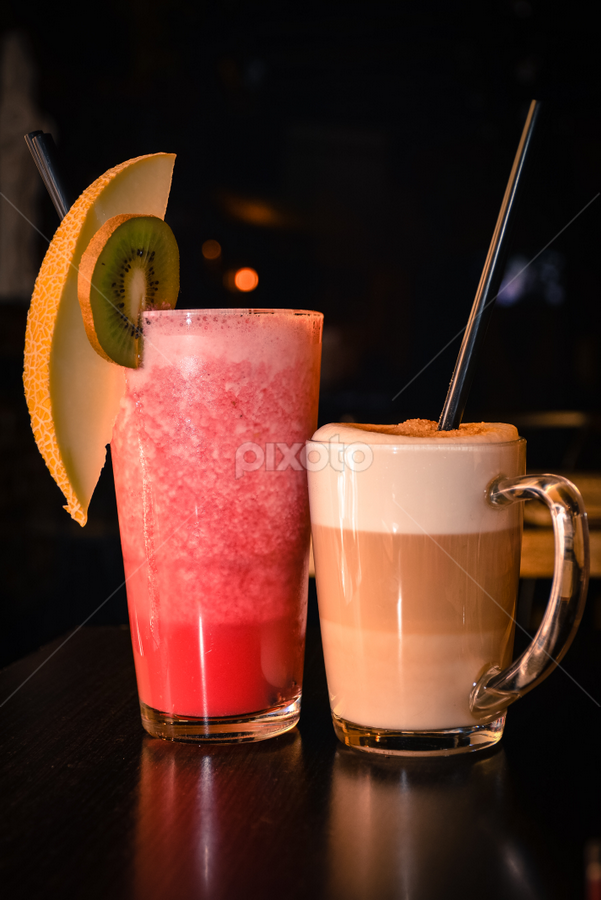 Strawberry Smoothie and Caffe Latte  by Andreea Marchidan - Food & Drink Alcohol & Drinks ( coffee, smoothie, caffe, latte, strawberry )