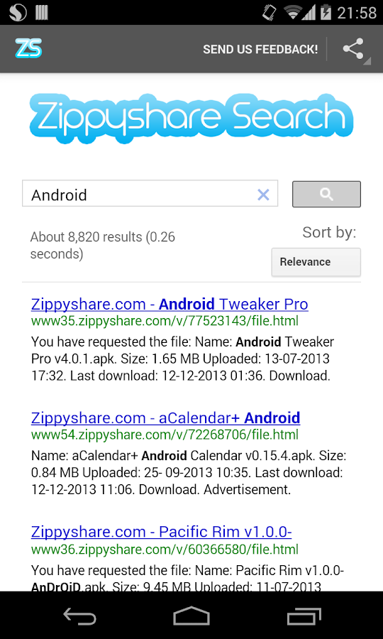 Zippyshare Simple Search - screenshot